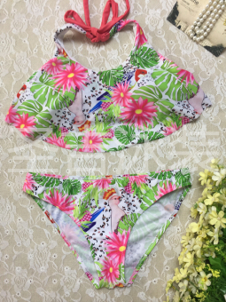 Hot Spring European and American high collar cross halter swimsuit Print bikini (17062-lotus leaf fly side)