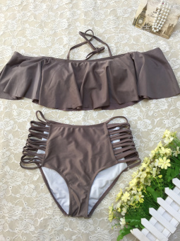 Hot Spring European and American New style bra high waist sexy BIKINI (Coffee color)
