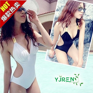 Hot Spring Korean-style black white piece Slimming effect female swimsuit swimming clothes (White)