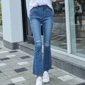 HSTYLE jm7690 Korean-style New style Slim fit micro speaker jeans ankle-length pants
