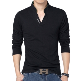 Huaway Men's Fashion Solid Color Letter Casual Long Sleeve Polo Shirts(Black) - intl