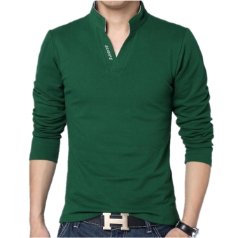 Huaway Men's Fashion Solid Color Letter Casual Long Sleeve Polo Shirts(Green)