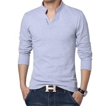 Huaway Men'S Fashion Solid Color Long Sleeve Polo Shirts(Gray) -intl