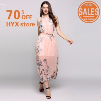 HYX HOT SALE!!!Women Bohemian Style Chiffon Sleeveless HalterCollar Belted Print Casual Dress With Lining(Pastel Pink) - intl