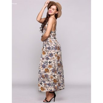 HYX HOT SALE!!!Women Elegant Spaghetti Strap Print Boho Styles Maxi Beach Casual Dress - intl - 3