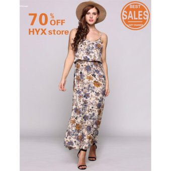 HYX HOT SALE!!!Women Elegant Spaghetti Strap Print Boho Styles Maxi Beach Casual Dress - intl