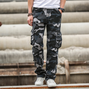 I casual men's straight jeans wear and tooling pants camouflage pants (Blue camouflage)