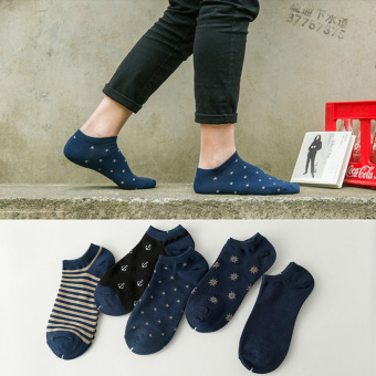 I cotton child men short socks men no-show socks (Dark Navy style 5 double boxed as figure of a color)