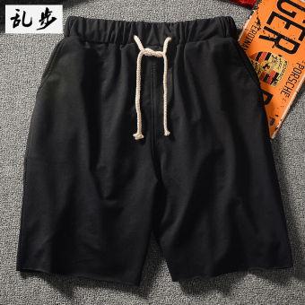 I Japanese-style curled wool solid color hip-hop sweatpants shorts (DK002 shorts black)