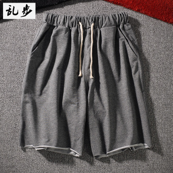 I Japanese-style curled wool solid color hip-hop sweatpants shorts (DK002 shorts dark gray color)