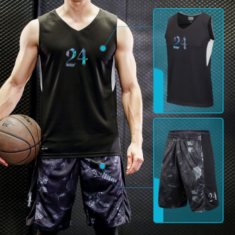 I LOOESN vest quick-drying slim fit pant basketball star basketball clothes (24 No. Jersey + serpentine black and gray)