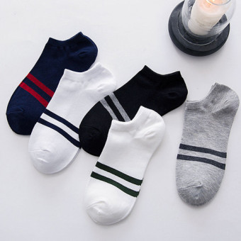 I men's summer thin Short Tube cotton socks (Men's striped Section)