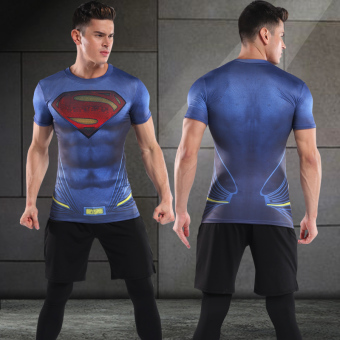 I quick-drying short sleeved slim fit clothing basketball fitness clothes (Dark blue color (blue Superman) 3 sets)