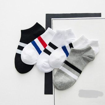 I retro men's summer thin striped no-show Socks (20-men beam foot two bars)