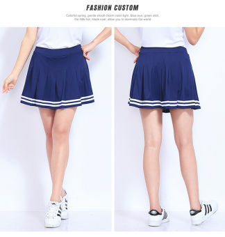I spring Plus-sized anti-kindergarten tennis skirt (Sapphire blue color)