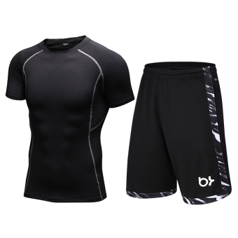 I stretch quick-drying compression short sleeved basketball shorts fitness clothes (Black short sleeved + 8813 black)