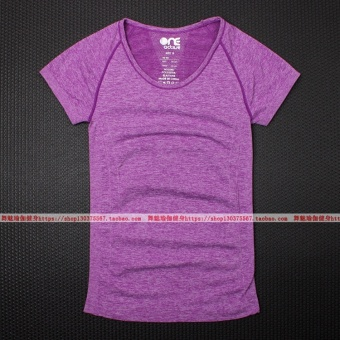 I stretch running training fitness clothes short sleeved I Top short sleeved Slim fit T-shirt (Purple) Price Philippines