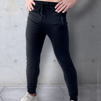 I thin cashmere Slim fit thin zip pants athletic pants (Casual zip black)