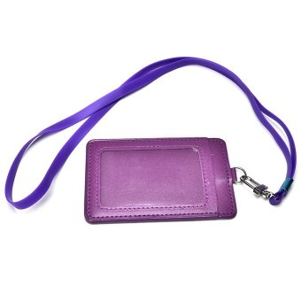 ID Leather Card Holder Card Case Badge Necklace Neck Strap LanyardChic Purple - intl