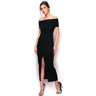 Fashionista Front Split Maxi Dress (Black) Price Philippines