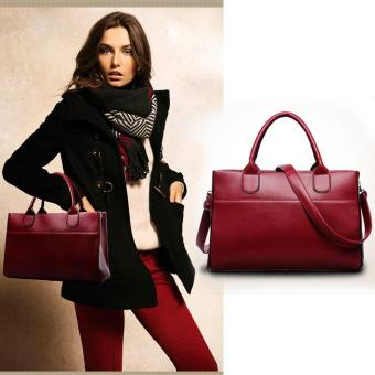 Harga New Women Genuine Leather Handbag Shoulder Bag Large Tote Satchel Red - intl