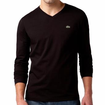 Harga LACOSTE VNECK LONGSLEEVES FOR MEN BLACK