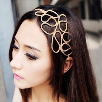 Metallic Gold Braid Braided Hollow Elastic Stretch Hair Band Headband Price Philippines