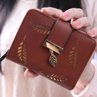 YBC Fashion Female Short Wallet Hollow Gold Leaf Small Purse Coffee - intl Price Philippines