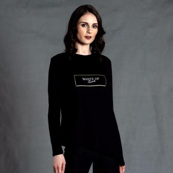Harga PENSHOPPE Long-sleeved Graphic Tee with Asymmetrical Hem (Black)