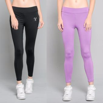 Harga BUY 1 TAKE 1 Outperformer Casual Yoga Leggings with Extra Stretch and Dryperform (Lively Lilac and Limo Black)