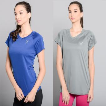 Harga BUY 1 TAKE 1 Outperformer Active V Neck Shirt with Extra Stretch and Dryperform Technology (Light Grey and Royal Blue)