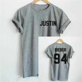 Hang-Qiao Letter Bieber justin 94 Printed Loose T-shirt (Grey) - intl Price Philippines