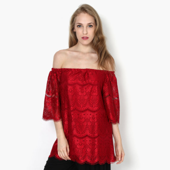 Harga SM Woman Lace Off-shoulder Top (Red)