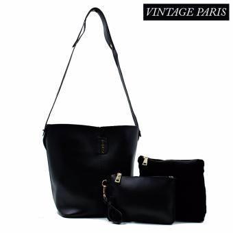 Harga Vintage Paris Luna Cross Body Sling Bag (Black)