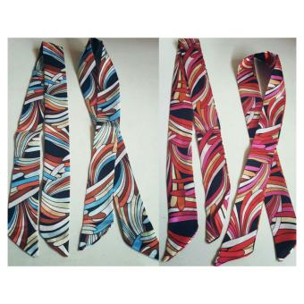 Harga Jessica Silk Twilly Bag Scarf Set Of 2 (Brown/Blue,Pink/Black)