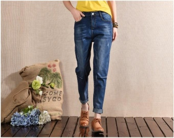 QQ leisure Haren pants BF loose jeans female nine minutes pants thin 9 points pants Dark Blue - intl Price Philippines