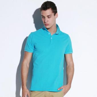 Clothing New Men Polo Shirt Men Business Casual Solid Male Polo Shirt Short Sleeve Breathable Polo Shirt (Light Blue) - intl Price Philippines
