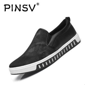 Harga PINSV Men Breathable Casual Flats Shoes Loafers (Black) - intl