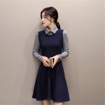 NAVY BLUE New Arrived Winter Autumn Women Casual Dress Splice A-line Vestido Warm Dress for Lady Female Autumn Dress Plus Size - intl Price Philippines