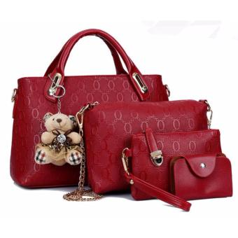 Harga Talita 4 in 1 korean bag with Teddy Bear (Red)