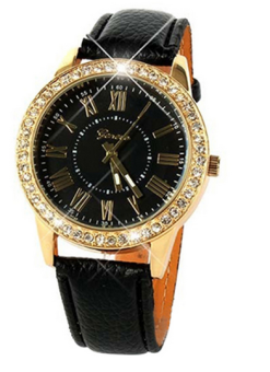 OEM Vintage Women's Black Leather Strap Watch 11054 Black Price Philippines