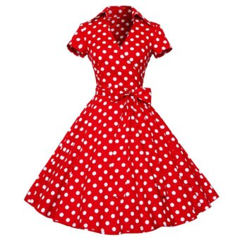 Harga Polka Dot Printed Dress Big Hem With Belt --TC