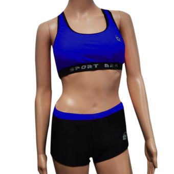 Harga Fashion Sports bra with sexy short Blue M/L F1568