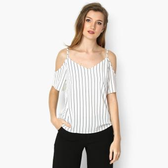 Harga GTW Fab Cold Shoulder Striped Top (White)