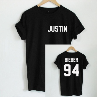 Hang-Qiao Letter Bieber justin 94 Printed Loose T-shirt (Black) - intl Price Philippines