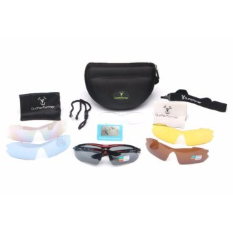 Harga Outperformer Triumph Sports Sunglasses with 5 Interchangeable UV Protected Scratch Proof Lenses and 2 Polarized Lenses