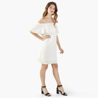 Harga GTW Fab Off-Shoulder Flounce Shift Dress (White)