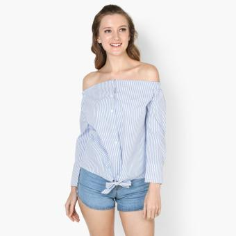 Harga GTW Fab Striped Tie-Front Top (White)