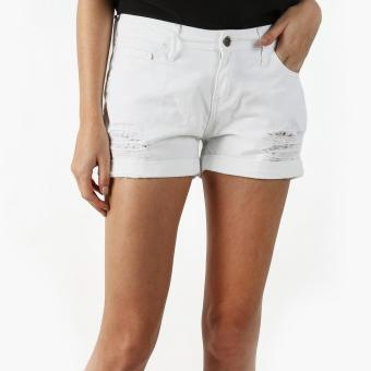 Harga SM Woman Distressed Denim Shorts (White)