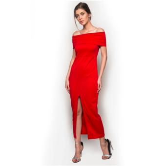 Fashionista Front Split Maxi Dress (Red) Price Philippines